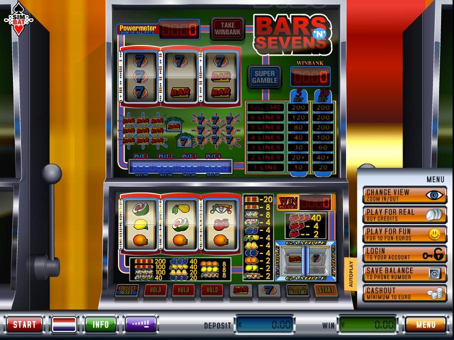 Bars and sevens fruitmachine